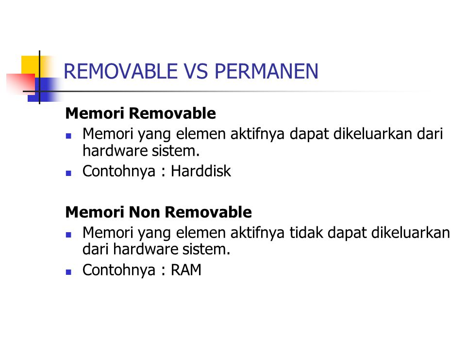 REMOVABLE VS PERMANEN Memori Removable