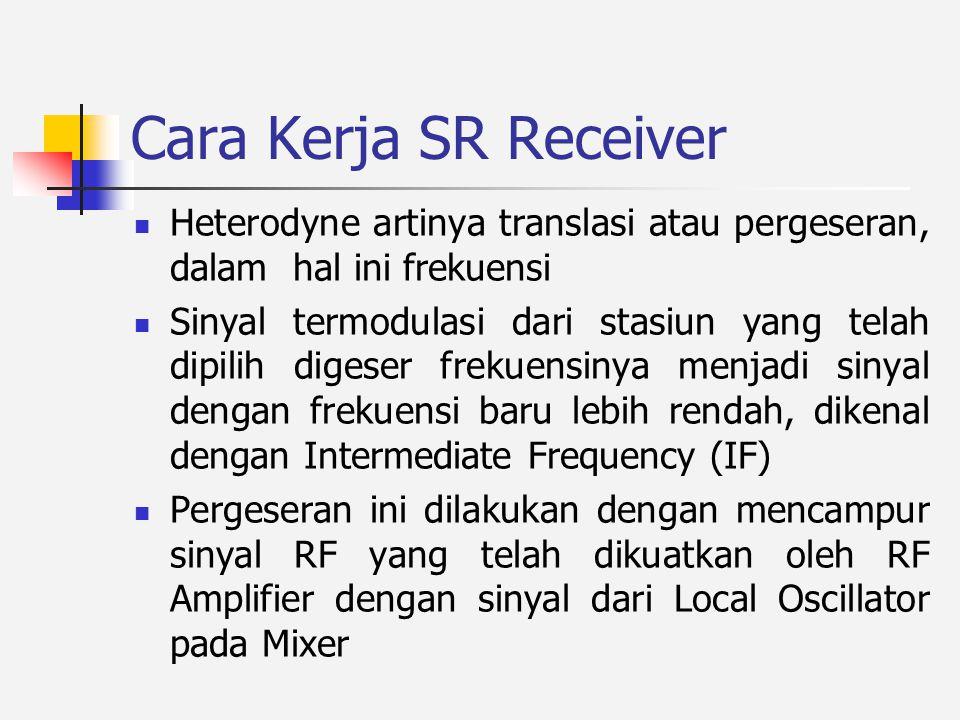 Cara Kerja SR Receiver Heterodyne artinya translasi atau pergeseran, dalam hal ini frekuensi.