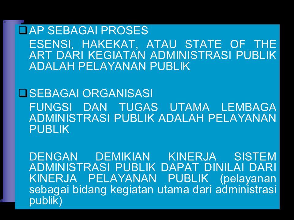 AP SEBAGAI PROSES ESENSI, HAKEKAT, ATAU STATE OF THE ART DARI KEGIATAN ADMINISTRASI PUBLIK ADALAH PELAYANAN PUBLIK.