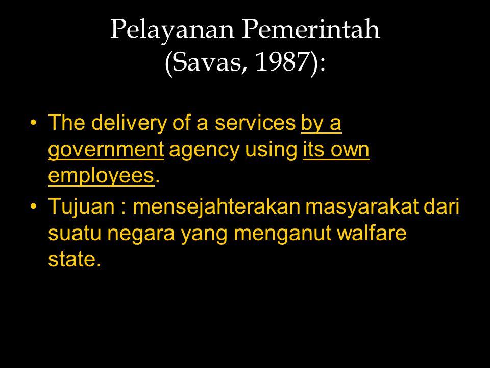 Pelayanan Pemerintah (Savas, 1987):