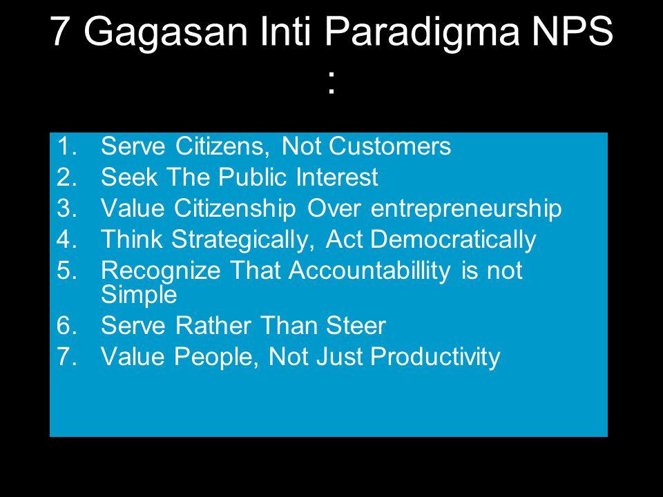 7 Gagasan Inti Paradigma NPS :