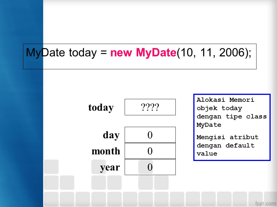 MyDate today = new MyDate(10, 11, 2006);