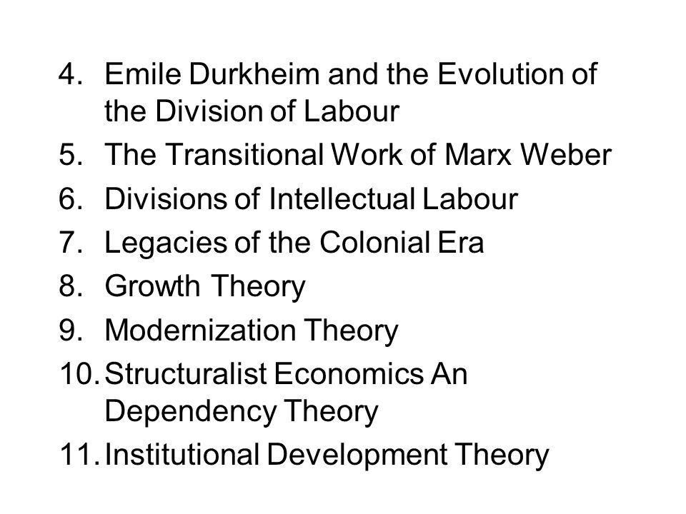 Emile Durkheim and the Evolution of the Division of Labour