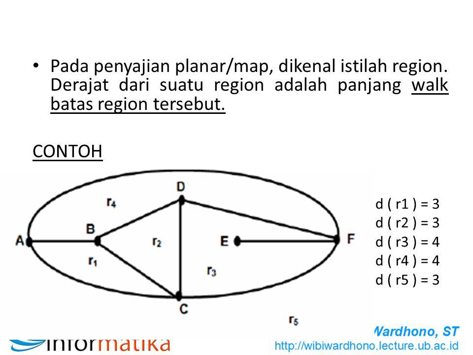 Pada penyajian planar/map, dikenal istilah region