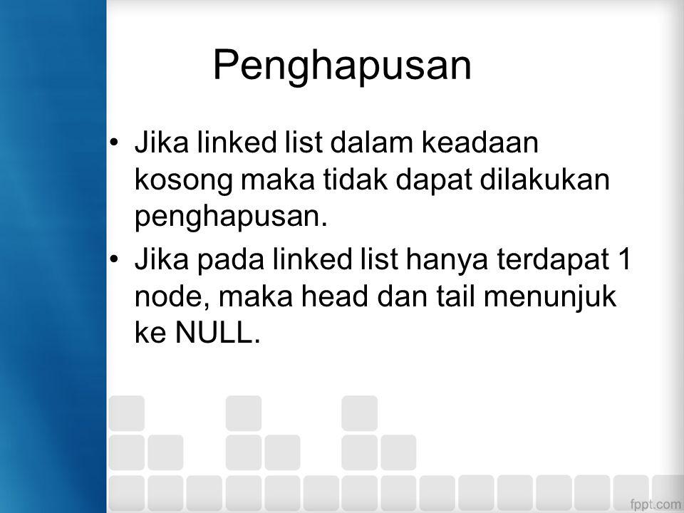 Penghapusan Jika linked list dalam keadaan kosong maka tidak dapat dilakukan penghapusan.