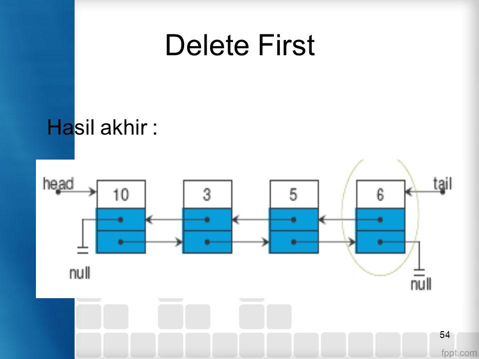 Delete First Hasil akhir :
