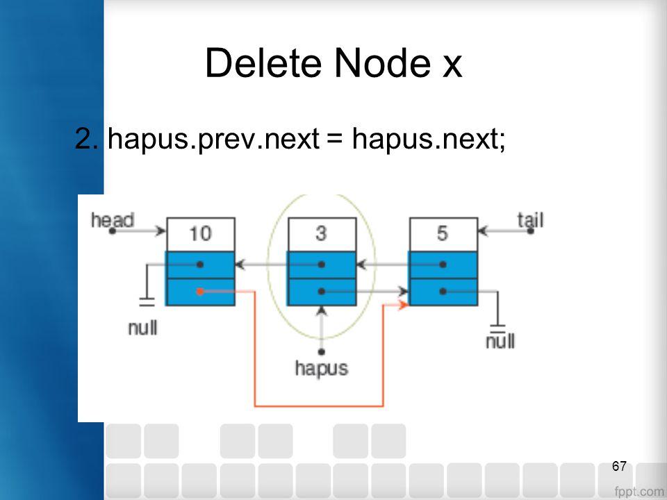 Delete Node x 2. hapus.prev.next = hapus.next;