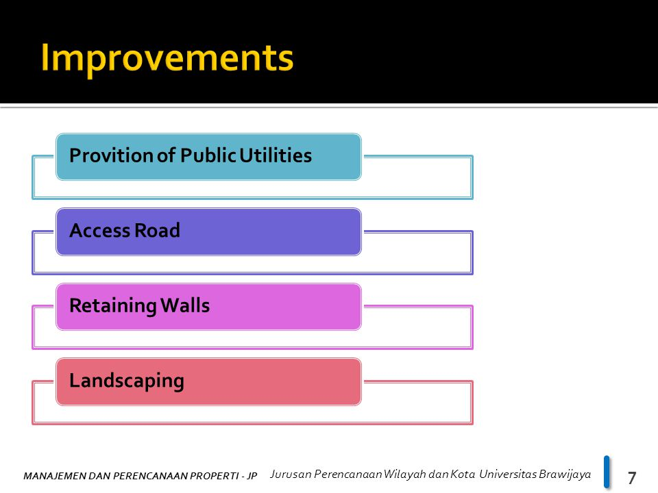 Improvements Provition of Public Utilities Access Road Retaining Walls