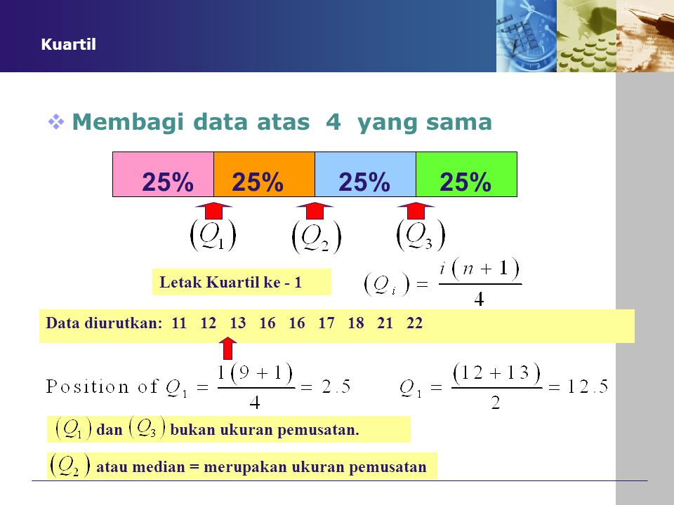 25% 25% 25% 25% Membagi data atas 4 yang sama , Ukuran pemusatan