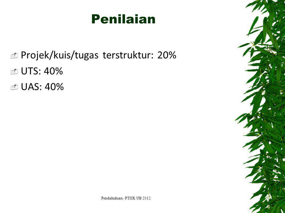 Penilaian Projek/kuis/tugas terstruktur: 20% UTS: 40% UAS: 40%