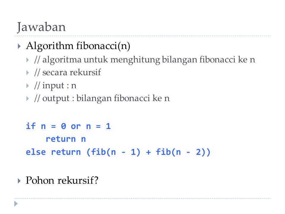 Jawaban Algorithm fibonacci(n) Pohon rekursif