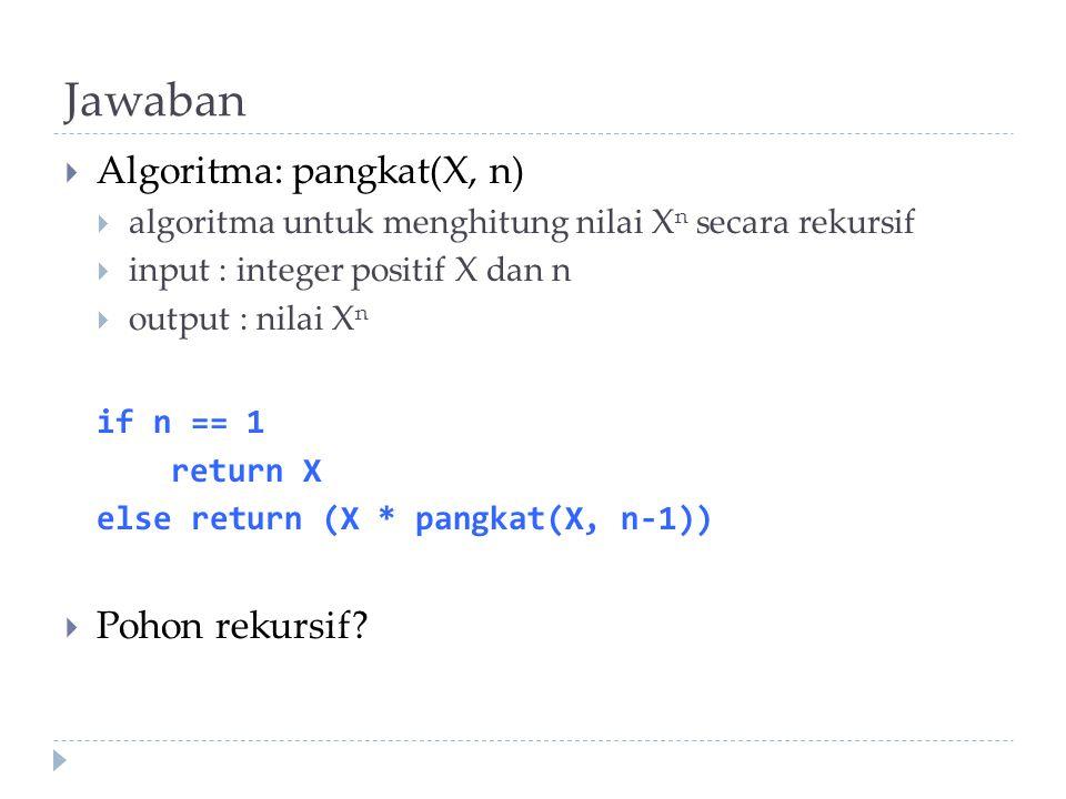 Jawaban Algoritma: pangkat(X, n) Pohon rekursif
