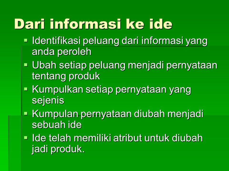 Dari informasi ke ide Identifikasi peluang dari informasi yang anda peroleh. Ubah setiap peluang menjadi pernyataan tentang produk.