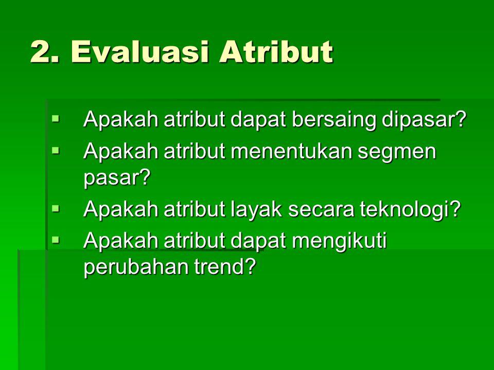 2. Evaluasi Atribut Apakah atribut dapat bersaing dipasar