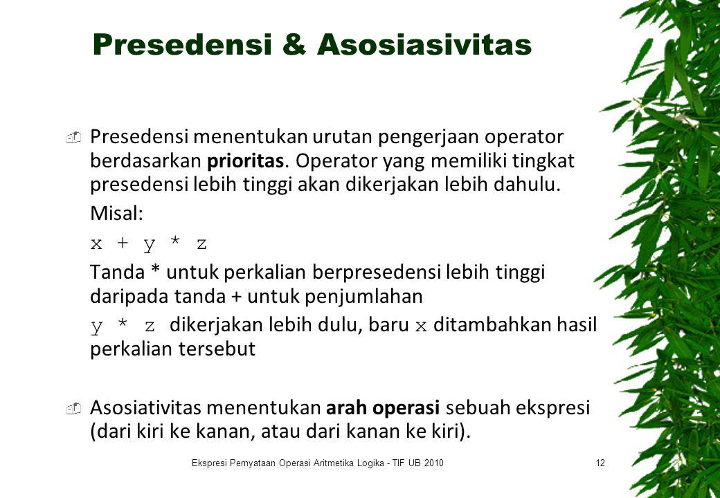 Presedensi & Asosiasivitas