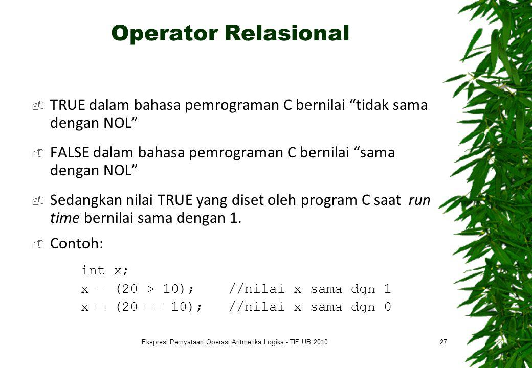 Ekspresi Pernyataan Operasi Aritmetika Logika - TIF UB 2010