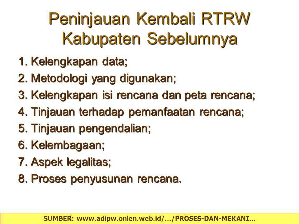 Peninjauan Kembali RTRW Kabupaten Sebelumnya
