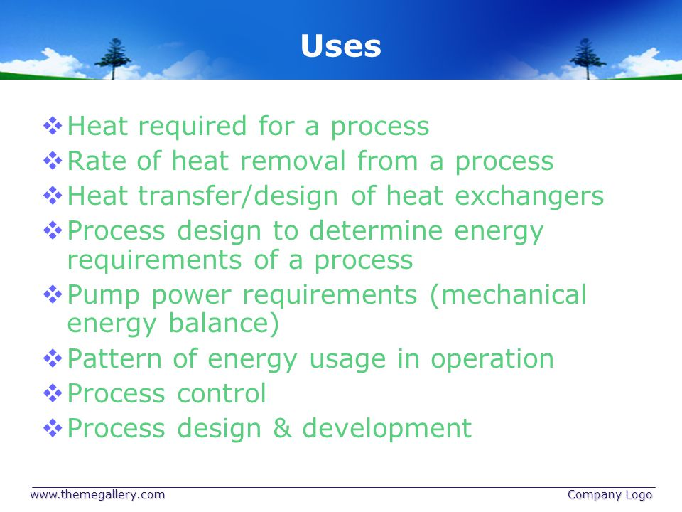 Uses Heat required for a process Rate of heat removal from a process