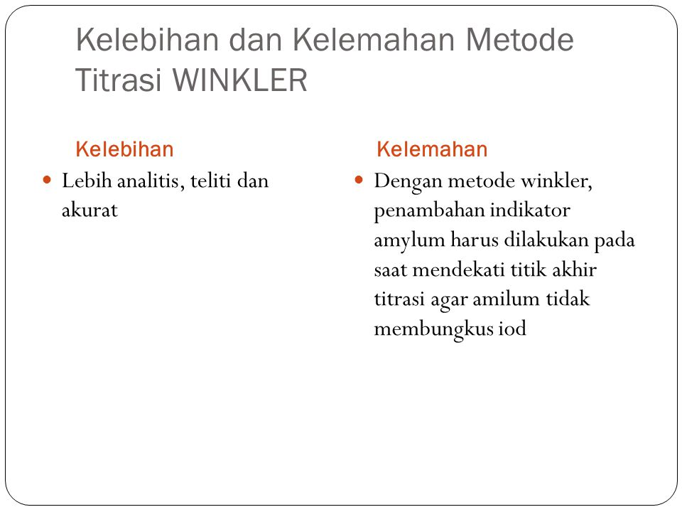 Kelebihan dan Kelemahan Metode Titrasi WINKLER