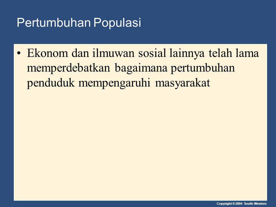 Pertumbuhan Populasi Ekonom dan ilmuwan sosial lainnya telah lama memperdebatkan bagaimana pertumbuhan penduduk mempengaruhi masyarakat.