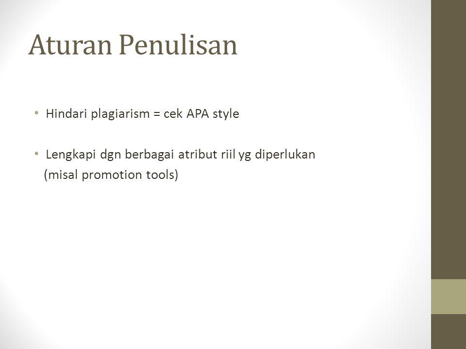 Aturan Penulisan Hindari plagiarism = cek APA style