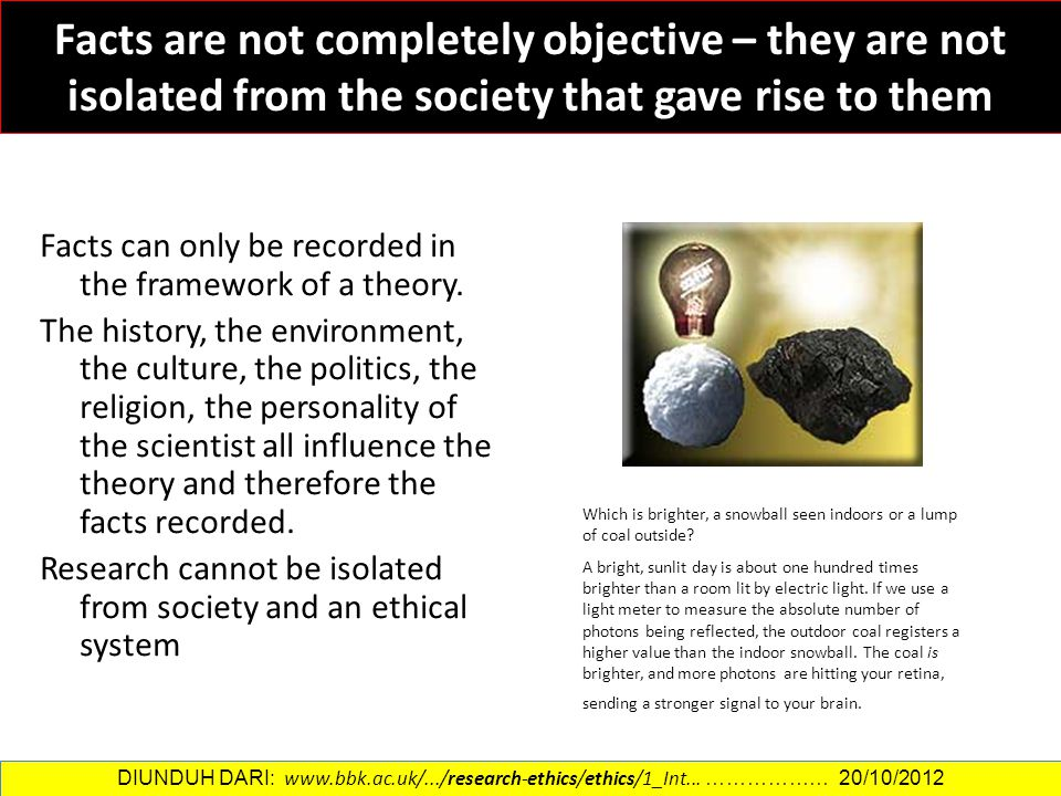 Facts are not completely objective – they are not isolated from the society that gave rise to them