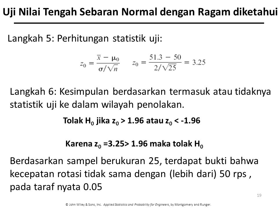 Uji Nilai Tengah Sebaran Normal dengan Ragam diketahui