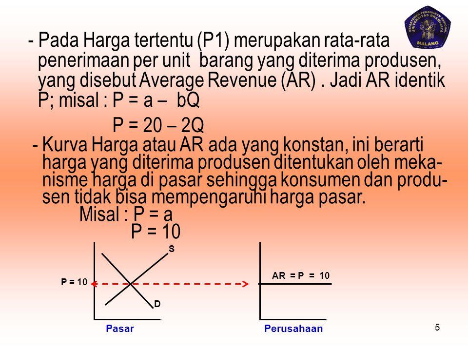 - Pada Harga tertentu (P1) merupakan rata-rata penerimaan per unit barang yang diterima produsen, yang disebut Average Revenue (AR) . Jadi AR identik P; misal : P = a – bQ