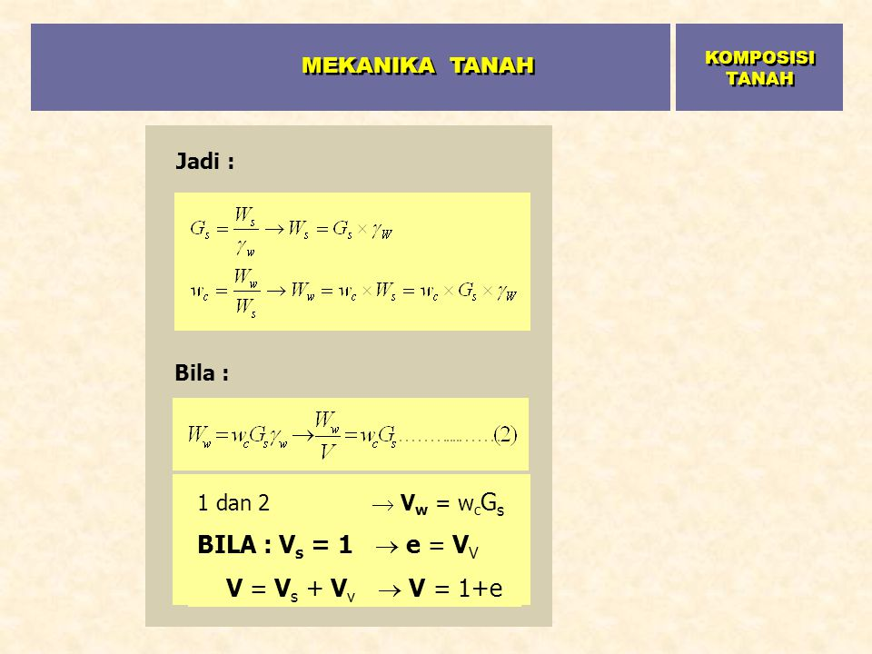 MEKANIKA TANAH BILA : Vs = 1  e = VV V = Vs + Vv  V = 1+e Jadi :