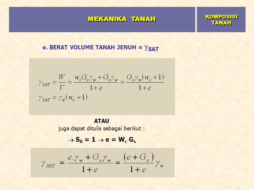 e. BERAT VOLUME TANAH JENUH = SAT