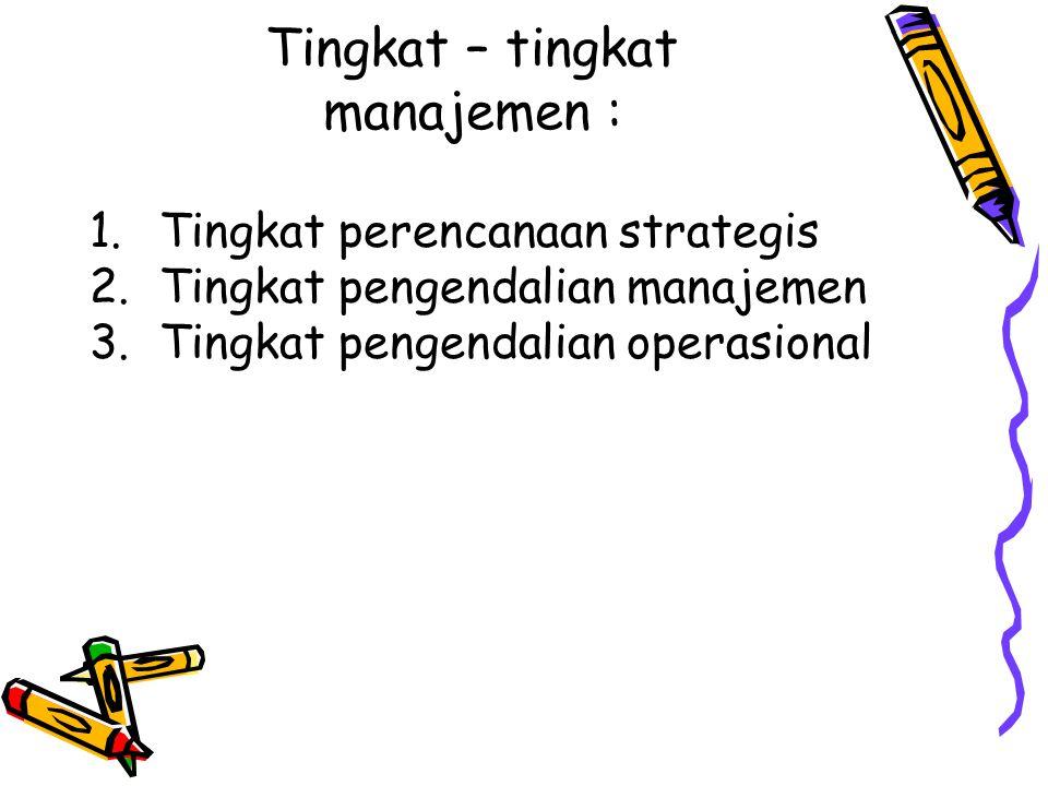 Tingkat – tingkat manajemen :