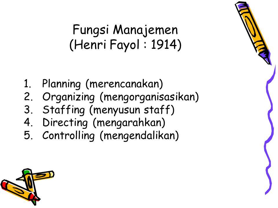 Fungsi Manajemen (Henri Fayol : 1914)