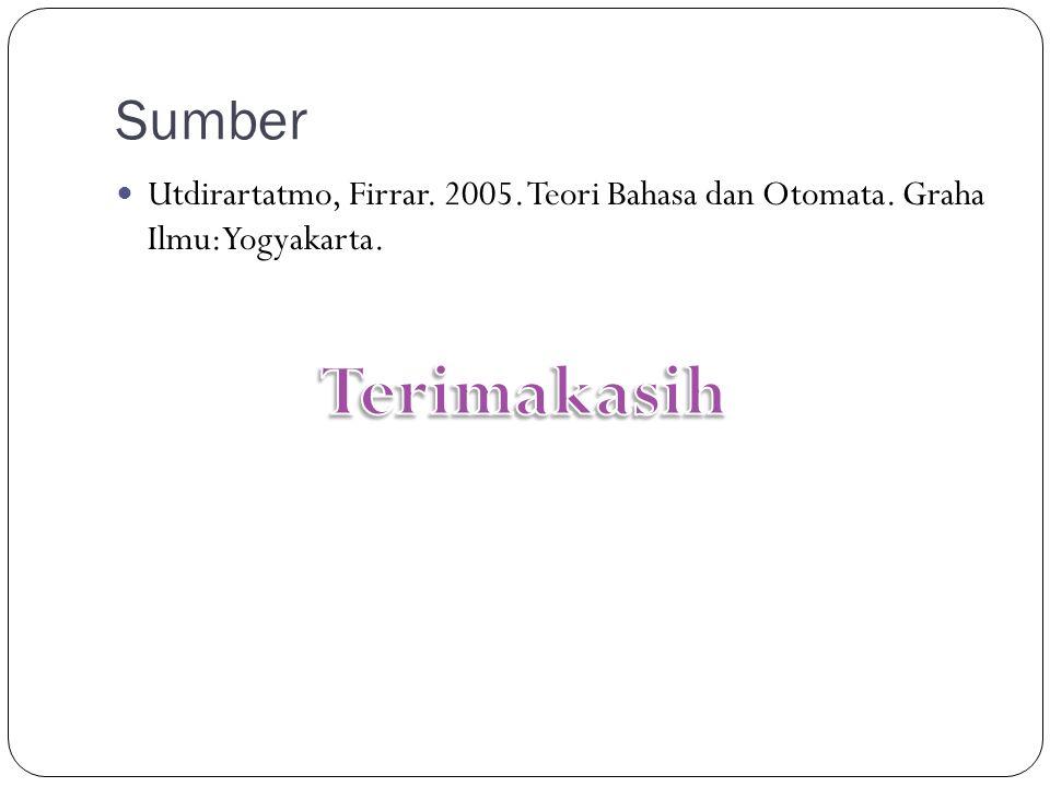 Sumber Utdirartatmo, Firrar. 2005. Teori Bahasa dan Otomata. Graha Ilmu:Yogyakarta. Terimakasih