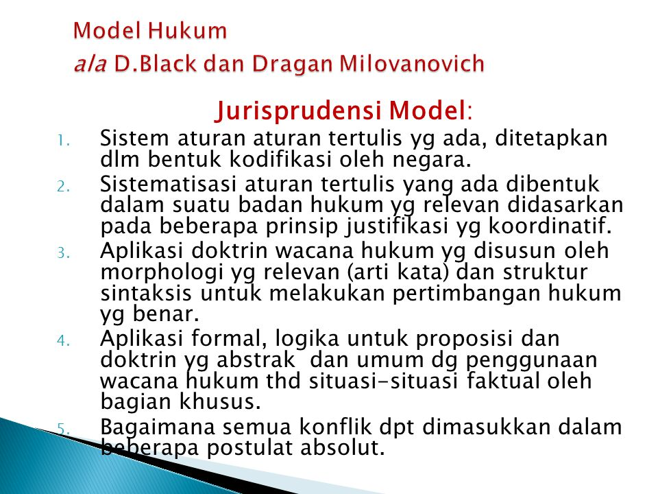 Model Hukum ala D.Black dan Dragan Milovanovich
