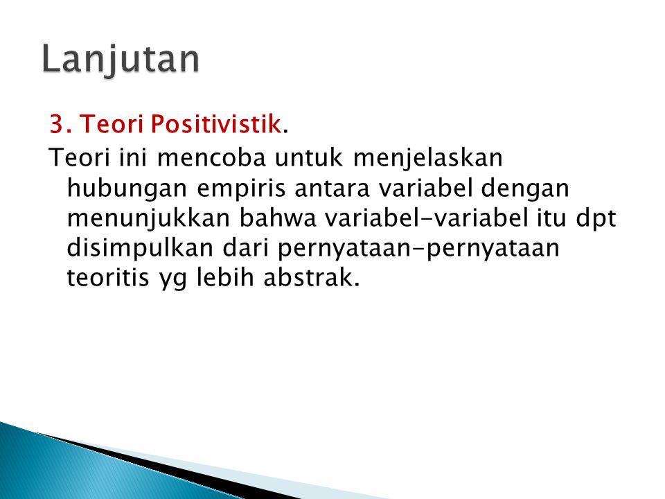 Lanjutan 3. Teori Positivistik.