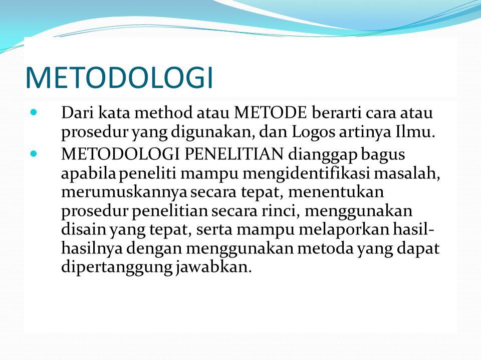 METODOLOGI Dari kata method atau METODE berarti cara atau prosedur yang digunakan, dan Logos artinya Ilmu.