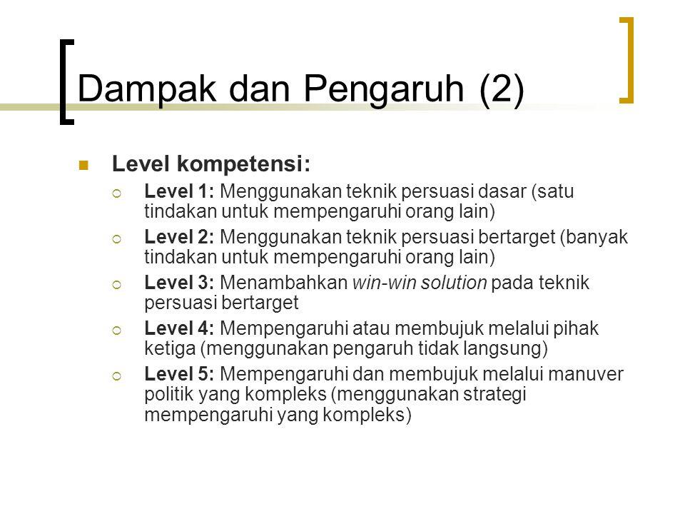 Dampak dan Pengaruh (2) Level kompetensi: