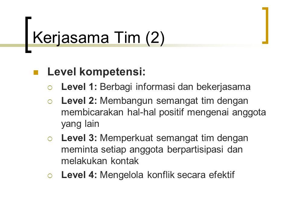 Kerjasama Tim (2) Level kompetensi: