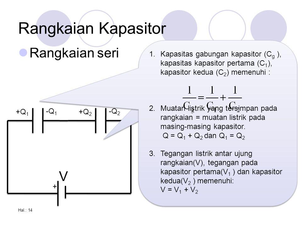 Rangkaian Kapasitor Rangkaian seri V