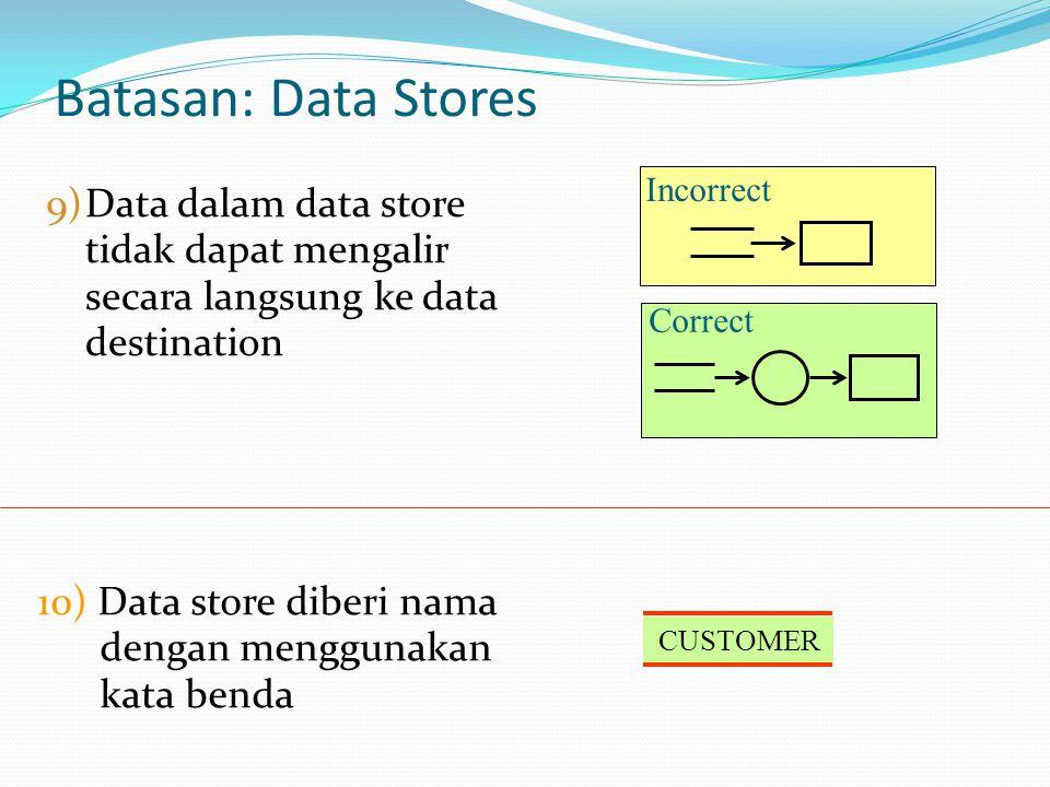 Batasan: Data Stores Incorrect. Data dalam data store tidak dapat mengalir secara langsung ke data destination.