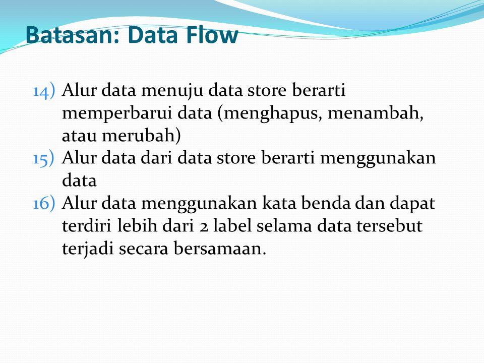 Batasan: Data Flow Alur data menuju data store berarti memperbarui data (menghapus, menambah, atau merubah)