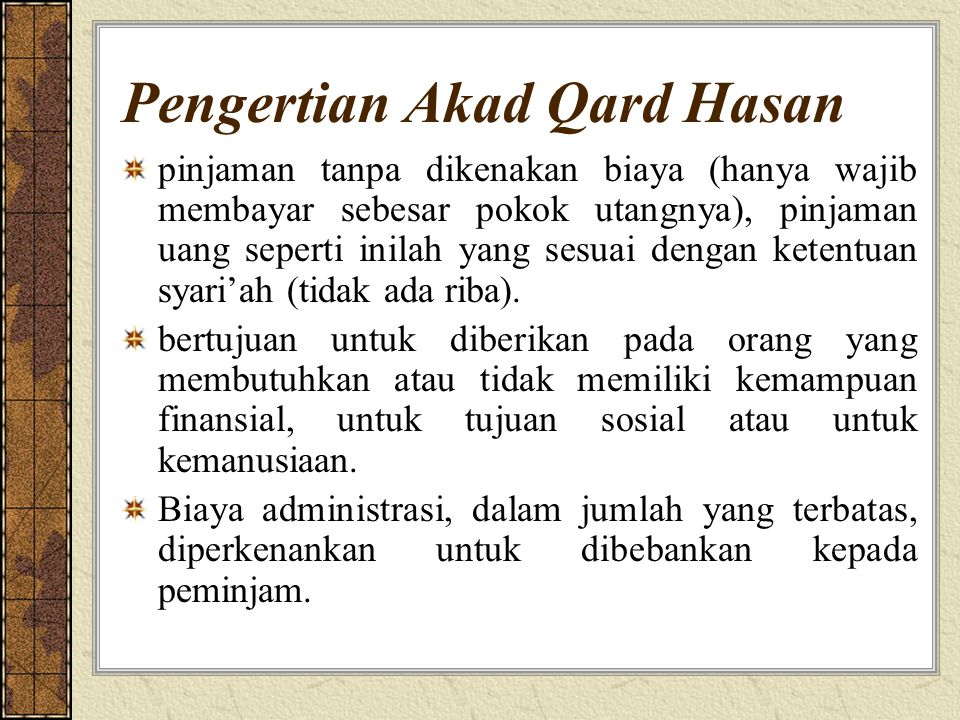 Pengertian Akad Qard Hasan