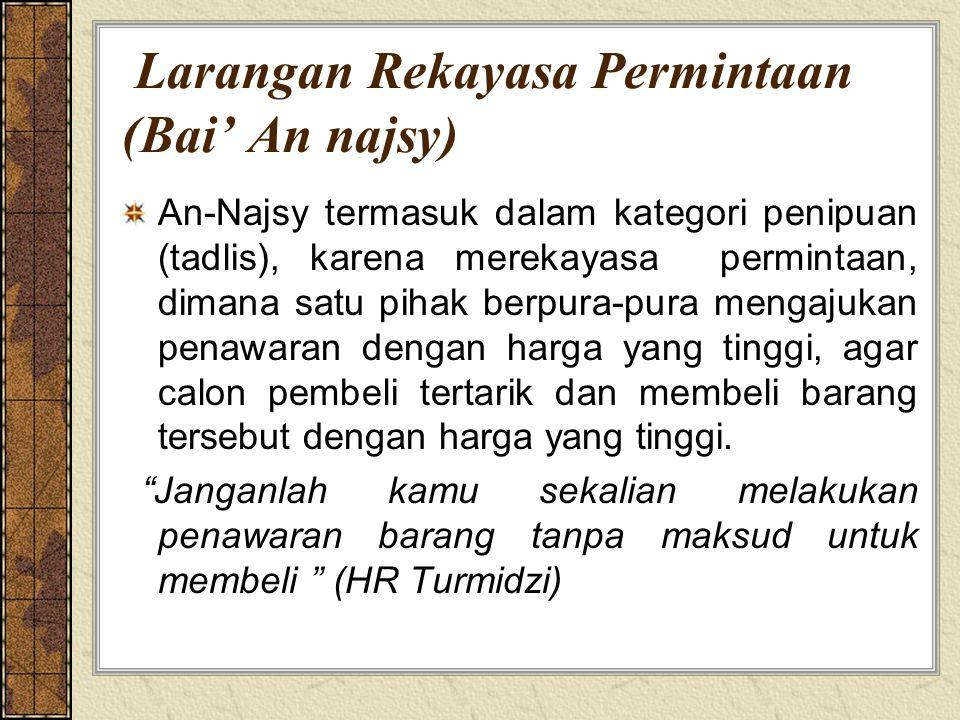 Larangan Rekayasa Permintaan (Bai' An najsy)