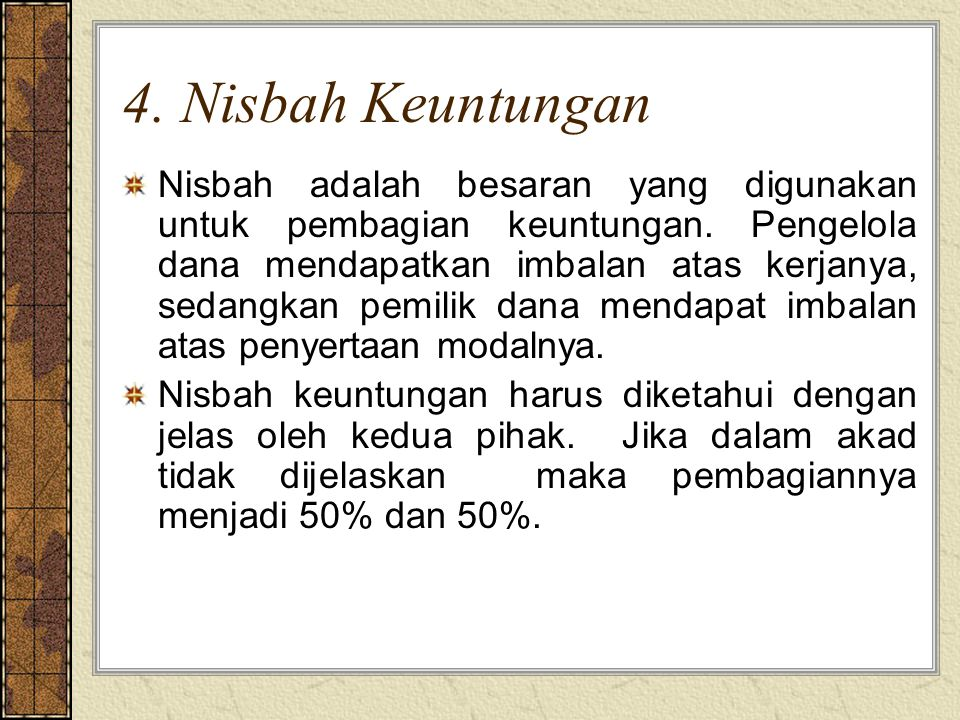 4. Nisbah Keuntungan