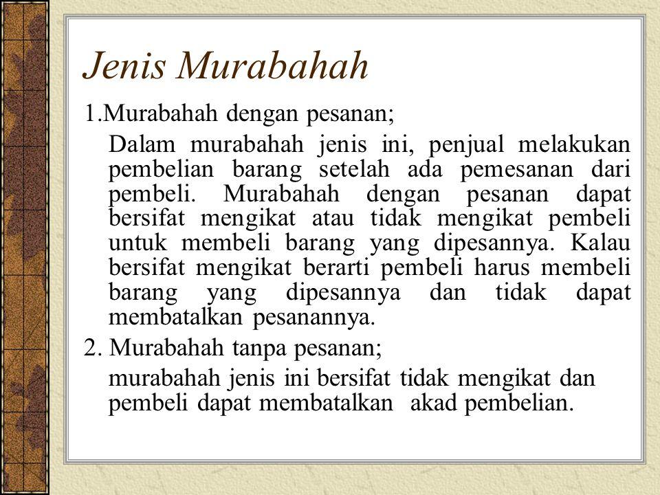 Jenis Murabahah 1.Murabahah dengan pesanan;