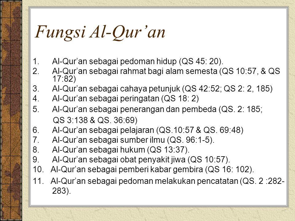 Fungsi Al-Qur'an 1. Al-Qur'an sebagai pedoman hidup (QS 45: 20).