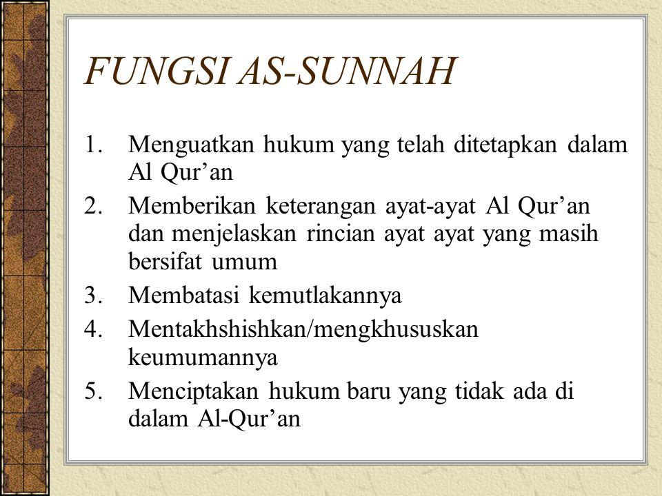 FUNGSI AS-SUNNAH Menguatkan hukum yang telah ditetapkan dalam Al Qur'an.