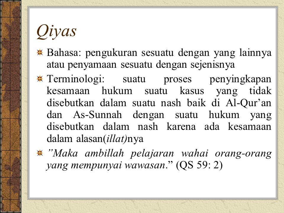 Qiyas Bahasa: pengukuran sesuatu dengan yang lainnya atau penyamaan sesuatu dengan sejenisnya.