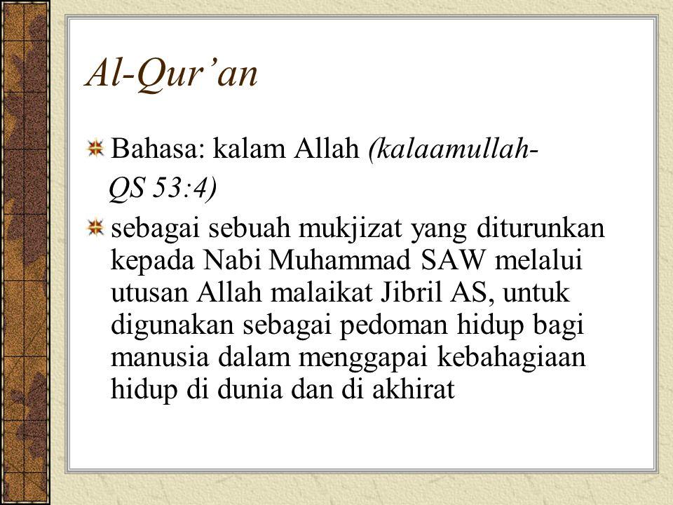 Al-Qur'an Bahasa: kalam Allah (kalaamullah- QS 53:4)