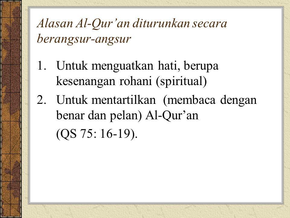 Alasan Al-Qur'an diturunkan secara berangsur-angsur